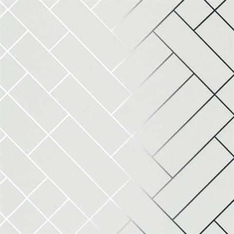 Tapet caf tiles silver white tapet cafe tile002 modern for White tile wallpaper