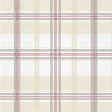 Tartan Red & Beige Plaid Wallpaper