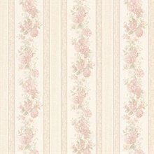 Tasha Blush Satin Floral Scroll Stripe