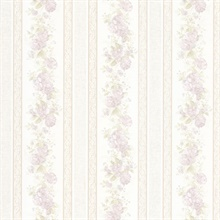 Tasha Lavender Satin Floral Scroll Stripe