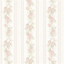 Tasha Pastel Satin Floral Scroll Stripe