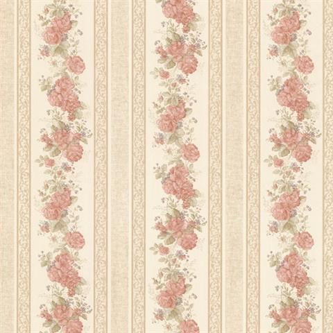 992 68316 Tasha Peach Satin Floral Scroll Stripe