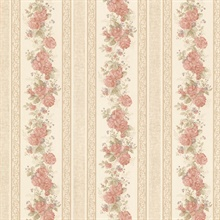 Tasha Peach Satin Floral Scroll Stripe
