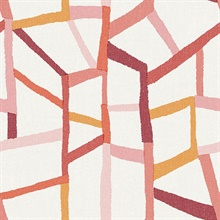 Tate Pink Retro Geometric on Linen Background Wallpaper