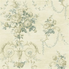 Taupe Architectural Floral Scroll