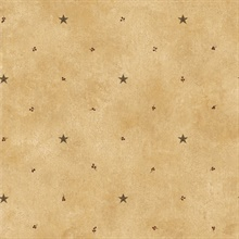 Taupe Barn Star & Sprigs Wallpaper