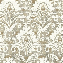 Taupe Batik Damask Wallpaper