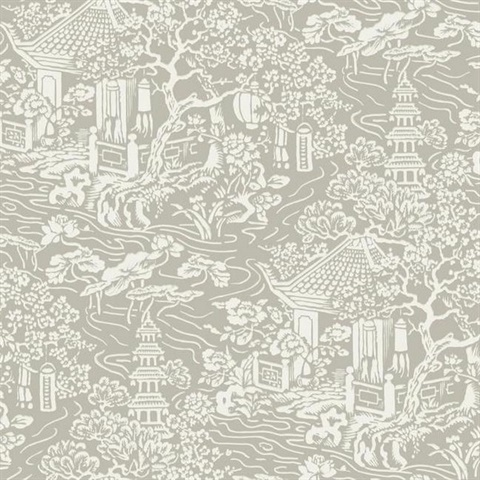 Af6574 Taupe Chinoiserie Wallpaper
