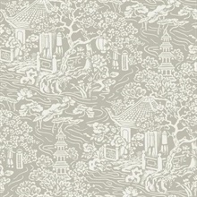 Taupe Chinoiserie Wallpaper