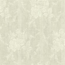 Taupe Floral Bouquet Stripe