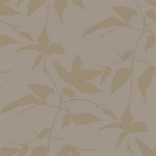 Taupe & Gold Persimmon Leaf Wallpaper