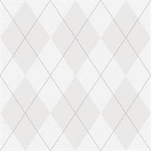 Taupe & Grey Argyle Plaid String Textured Wallpaper