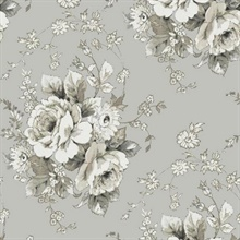 Taupe & Grey Heritage Rose Floral Wallpaper