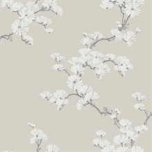 Taupe, Grey & White Chinoiserie Garden Tree Wallpaper