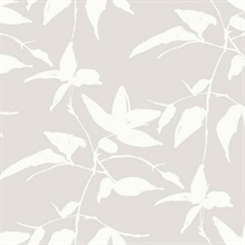 Taupe Persimmon Leaf Wallpaper