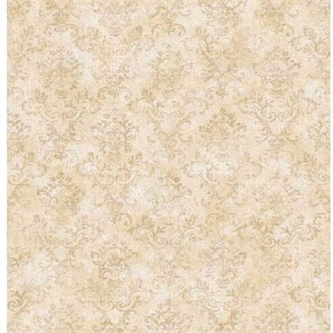 Taupe Stencil Damask Wallpaper
