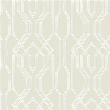 Taupe & White Oriental Lattice Wallpaper