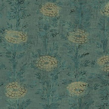 Teal & Gold French Marigold Wallpaper