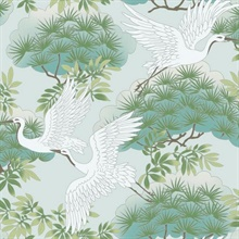 Teal Sprig & Heron Wallpaper