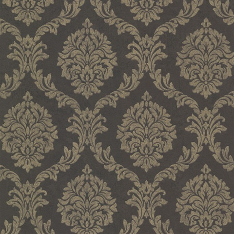 Damask Wall Paper 495-69060 | tennyson brown shimmer damask wallpaper | wallpaper