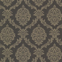 Tennyson Brown Shimmer Damask Wallpaper