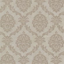 Tennyson Light Brown Shimmer Damask Wallpaper
