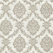 Tennyson Pewter Shimmer Damask Wallpaper