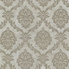 Tennyson Taupe Shimmer Damask Wallpaper