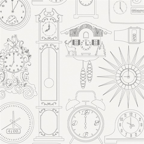 Tick Tock - Snow colourway wallpaper