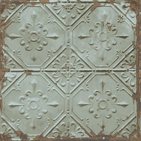 Tin Ceiling Teal Distressed Tiles