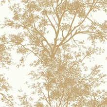 Tree Silhouette Sidewall Wallpaper - Gold