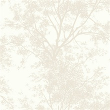 Tree Silhouette Sidewall Wallpaper - Pearl