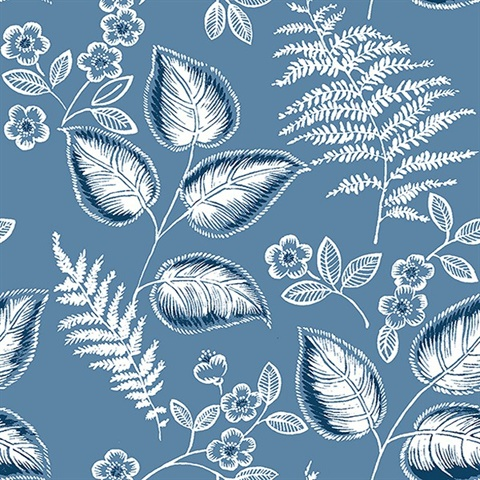 Trianon Blue Botanical Wallpaper