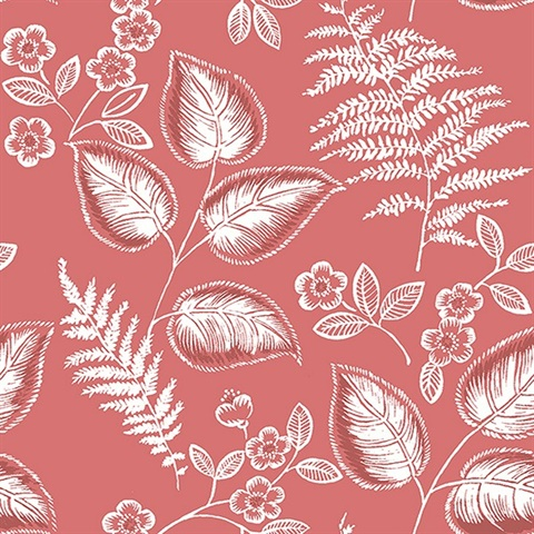 Trianon Coral Botanical Wallpaper