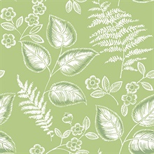 Trianon Green Botanical Wallpaper