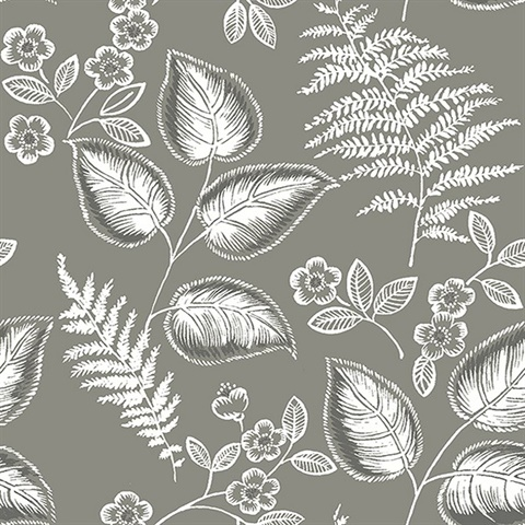 Trianon Grey Botanical Wallpaper
