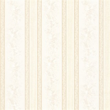 Trish Champagne Satin Floral Scroll Stripe