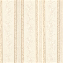 Trish Cream Satin Floral Scroll Stripe