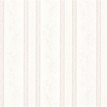 Trish Platinum Satin Floral Scroll Stripe