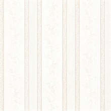 Trish White Satin Floral Scroll Stripe