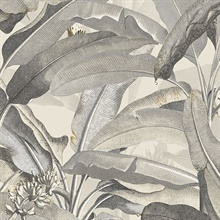 Tropical Polynesian Beige & Black Leaves Wallpaper