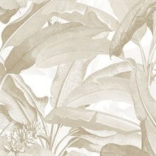 Tropical Polynesian Beige Leaves Wallpaper