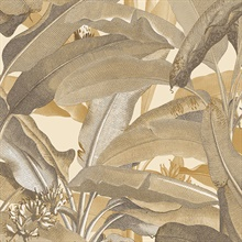 Tropical Polynesian Ochre Leaves Wallpaper