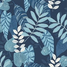 Tropicana Tropical Leaf Cobalt Blue Wallpaper