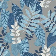 Tropicana Tropical Leaf Indigo Blue Wallpaper