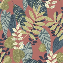 Tropicana Tropical Leaf Vermilion Wallpaper