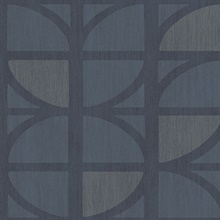Tulip Dark Blue Geometric Trellis Wallpaper