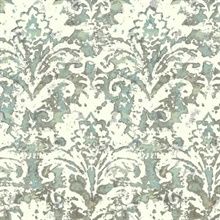 Turquoise Batik Damask Wallpaper