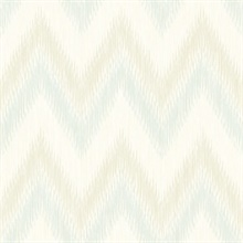 Turquoise & Cream Regent Flamestitch Wavy Textured Stringcloth Wallpap