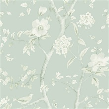 Turquoise & Cream Southport Bird On Branches Floral Trail Wallpaper